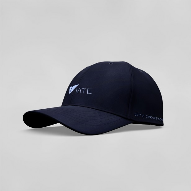 Vite Baseball Cap (Logo + Text, Navy Blue)